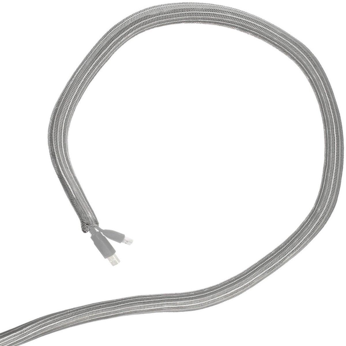 Minadax® 5 Meter, 9mm Ø Selbstschließender Profi Kabelschlauch Kabelkanal in grau für flexibles Kabelmanagement