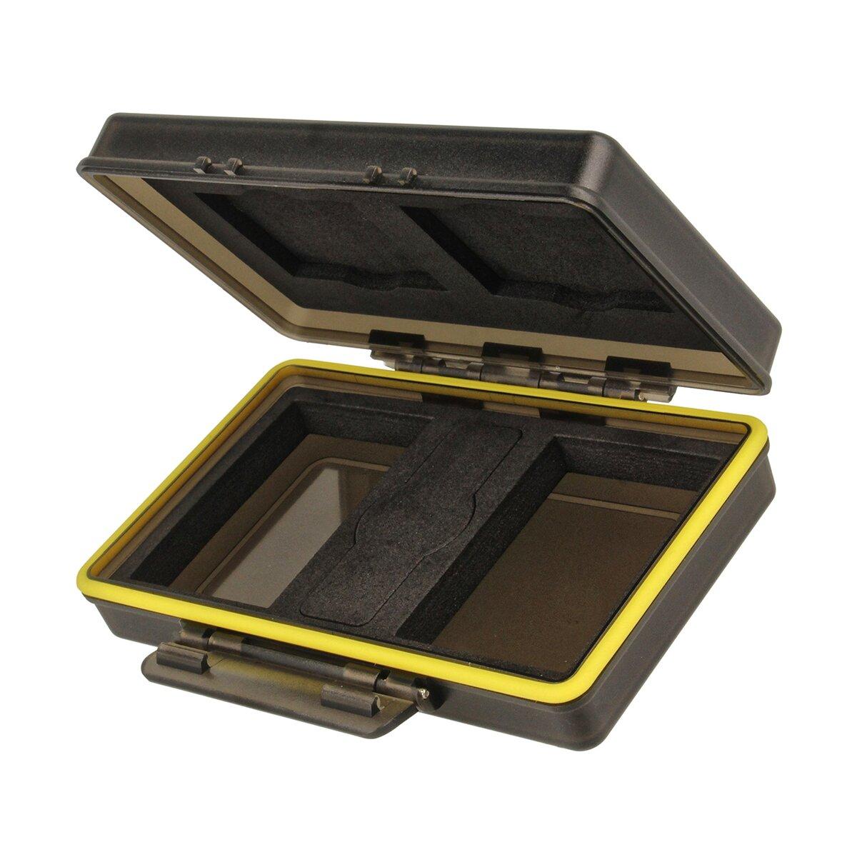 JJC BC-3CF2 Kunststoffetui für 2 CF-Karten und 2 Kameraakkus der Größe 59x39x21 Milimeter, Stabil, Spritzwasserdicht, Stöße absorbierend