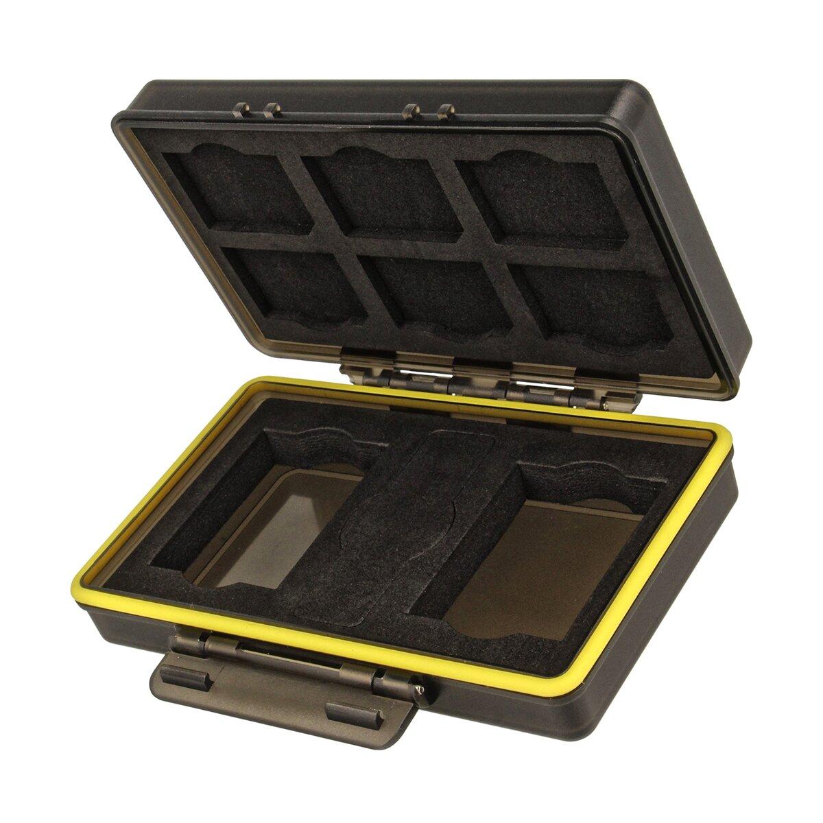 JJC BC-3NPW126 Kunststoffetui für 6 SD-Karten und 2 Kameraakkus der Größe 47 x 35 x 11 Milimeter, Stabil, Spritzwasserdicht, Stöße absorbierend