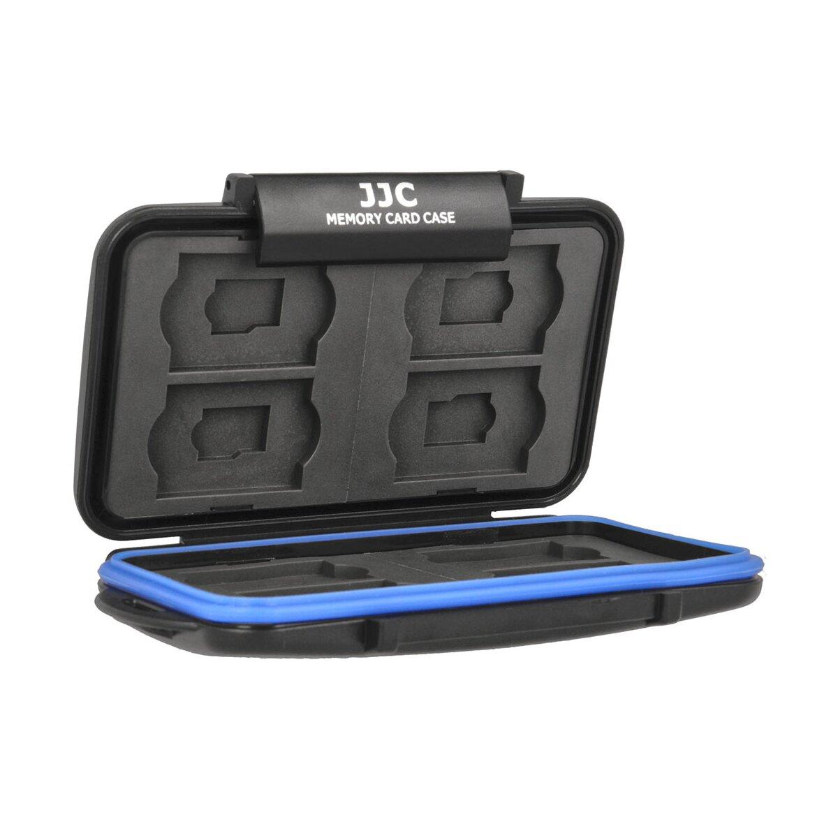 JJC Speicherkartenetui Schutzbox, Stoßfest, Wasserdicht, Für 8 SD und 8 MicroSD Karten, Sicher transportieren und aufbewahren