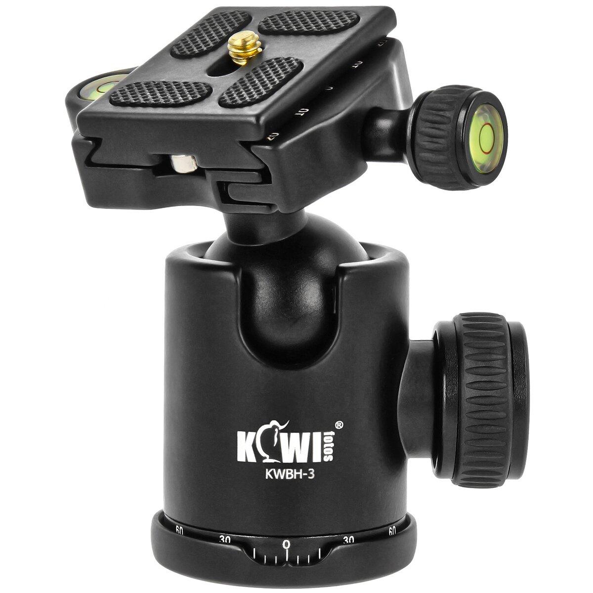 Kiwifotos Kugelkopf mit Schnellkupplung (Arca-kompatibel) 3/8-Zoll-Anschlussschraube Tragfähigkeit 5 kg - z.B. für kleine DSLRs und DSLM-Kameras