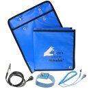 Minadax® 60 x 60cm Antistatik-Portabel Set + Tasche ESD Antistatikmatte in Blau, Handgelenksschlaufe und Erdungskabel - Für ein sicheres Arbeiten und Schutz Ihrer Bauteile vor Entladungsschäden
