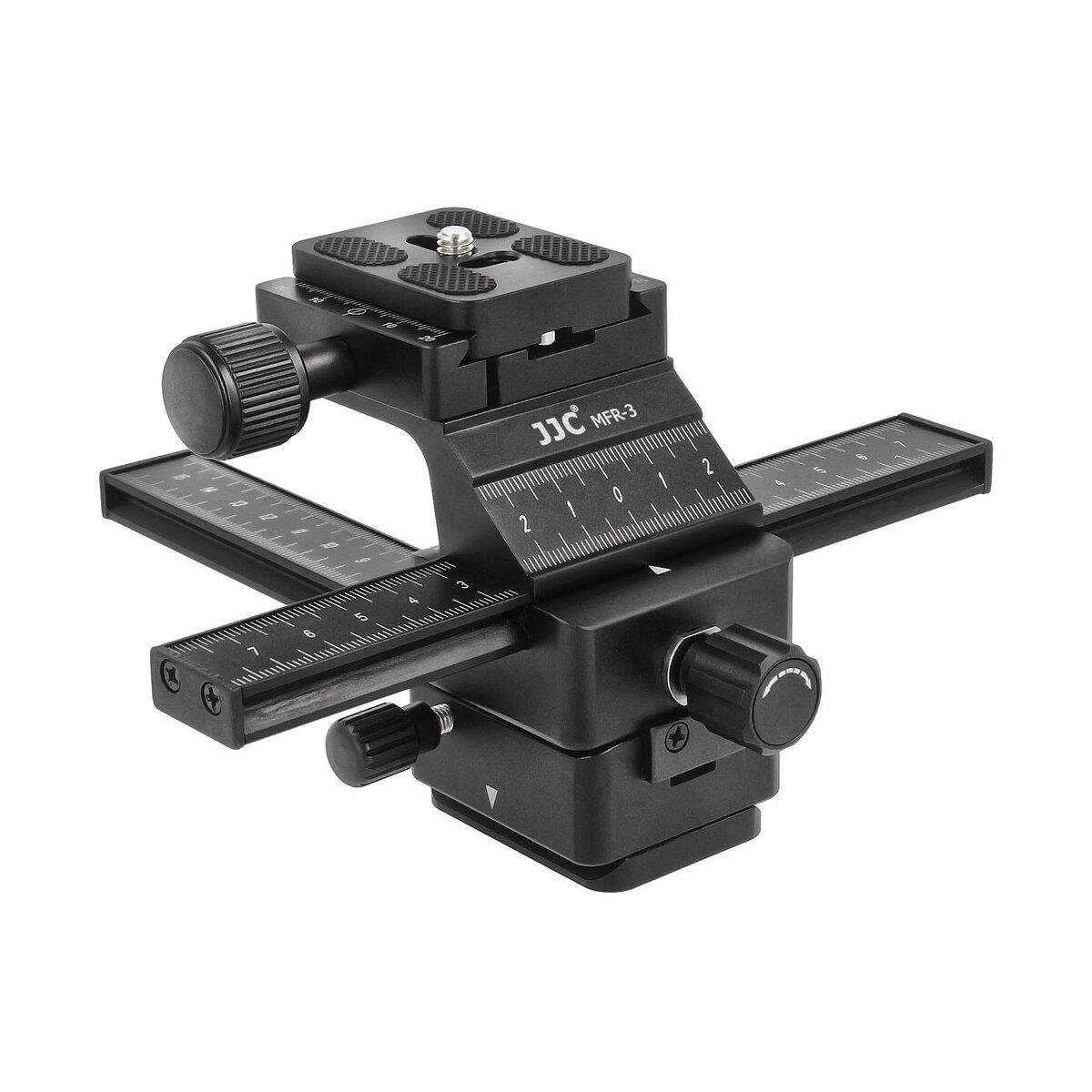 JJC MFR-3 Professioneller 16cm 3D Einstellschlitten 4-Wege Makroschiene Kreuzschlitten für Panorama- und Makrofotografie