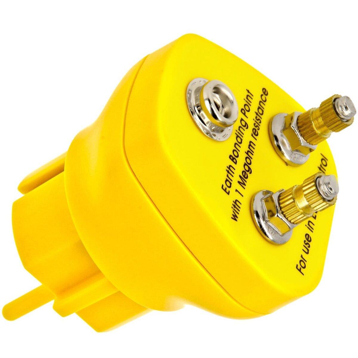 Minadax® Erdungsbaustein - Innovativer ESD-Schutz - Antistatik-Erdungsstecker - 2 x M5 Ösenanschluss - 1 Megaohm Sicherheitswiderstand