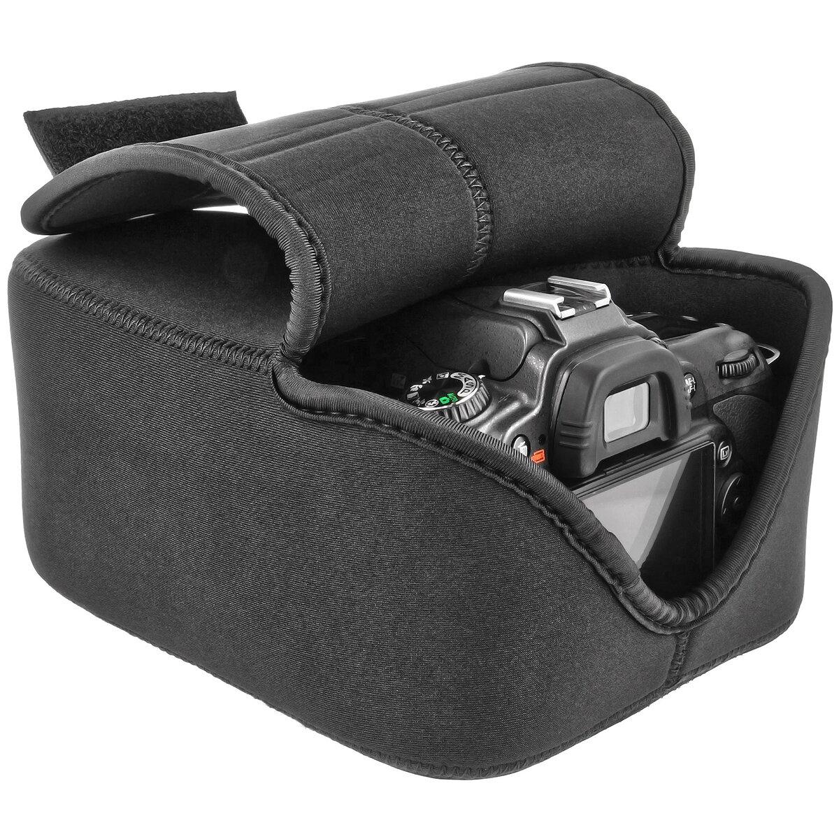 Kameratasche für große SLR DSLR Spiegelreflexkameras mit Objektiv - Neopren Schwarz - Wasserabweisend