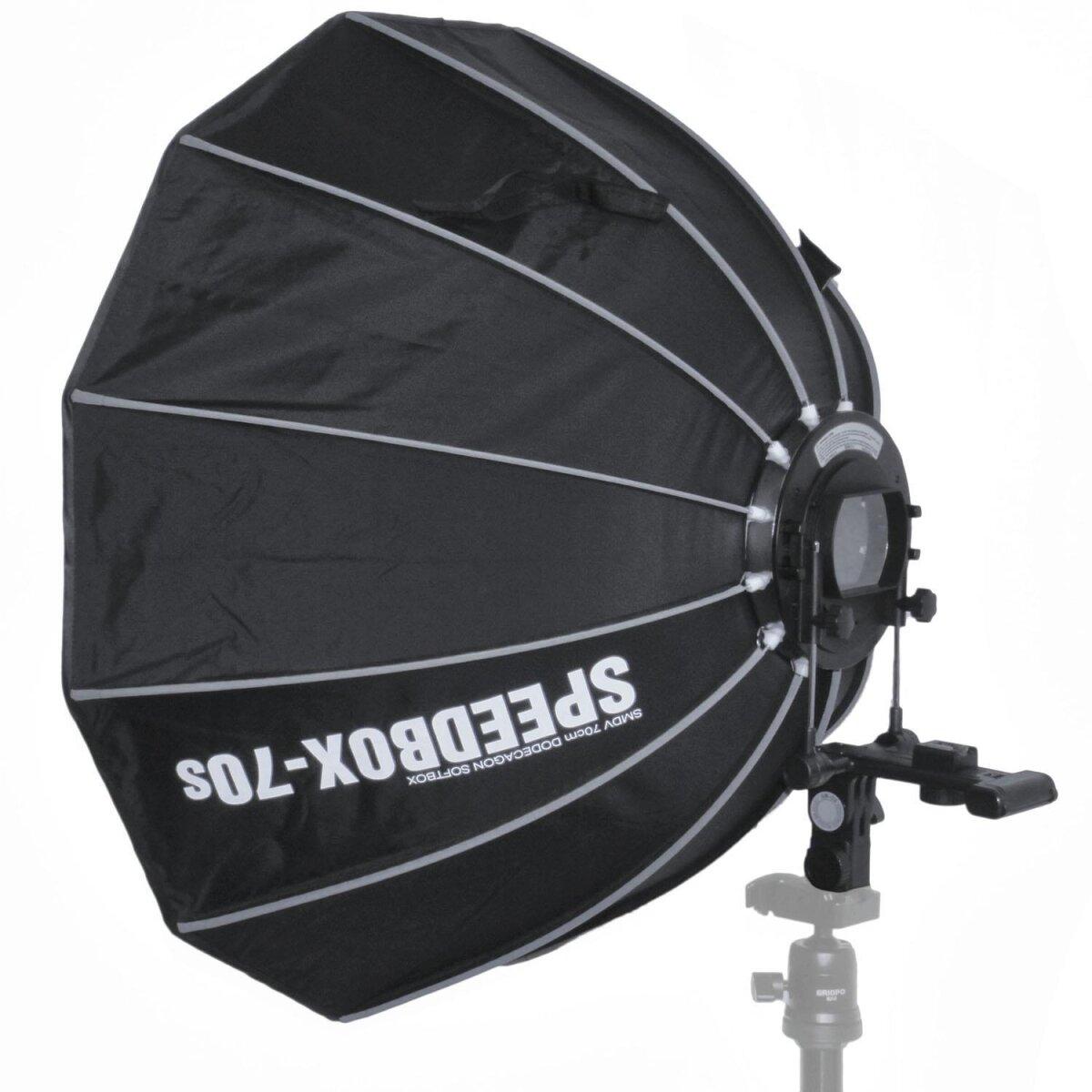 Impulsfoto SMDV Speedbox-70s, Mobile Zwölfeckige-Softbox 70cm, Weiche Ausleuchtung, Für entfesselte Aufsteckblitze mit Standard ISO / Sony Multi Interface Blitzschuh