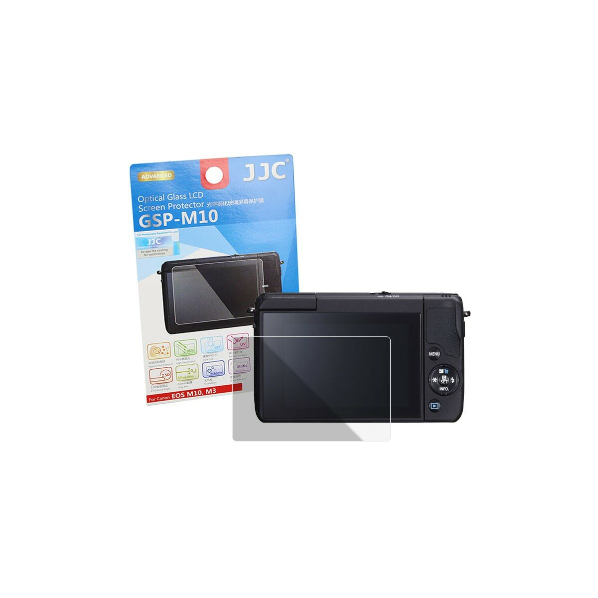 JJC GSP-M10 Hochwertiger Displayschutz Displayschutzglas Screen Protector aus gehärtetem Echtglas kompatibel mit Canon EOS 70D
