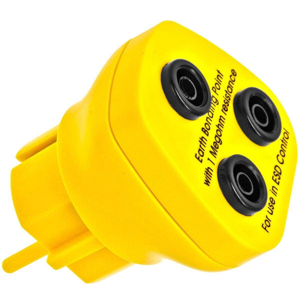 Minadax® Erdungsbaustein - EBP - Innovativer ESD-Schutz - Antistatik-Schutzkontaktstecker - Deutscher Steckdosen-Standard - 3 x 4 mm Bananenstecker-Buchse - 1 Megaohm Sicherheitswiderstand