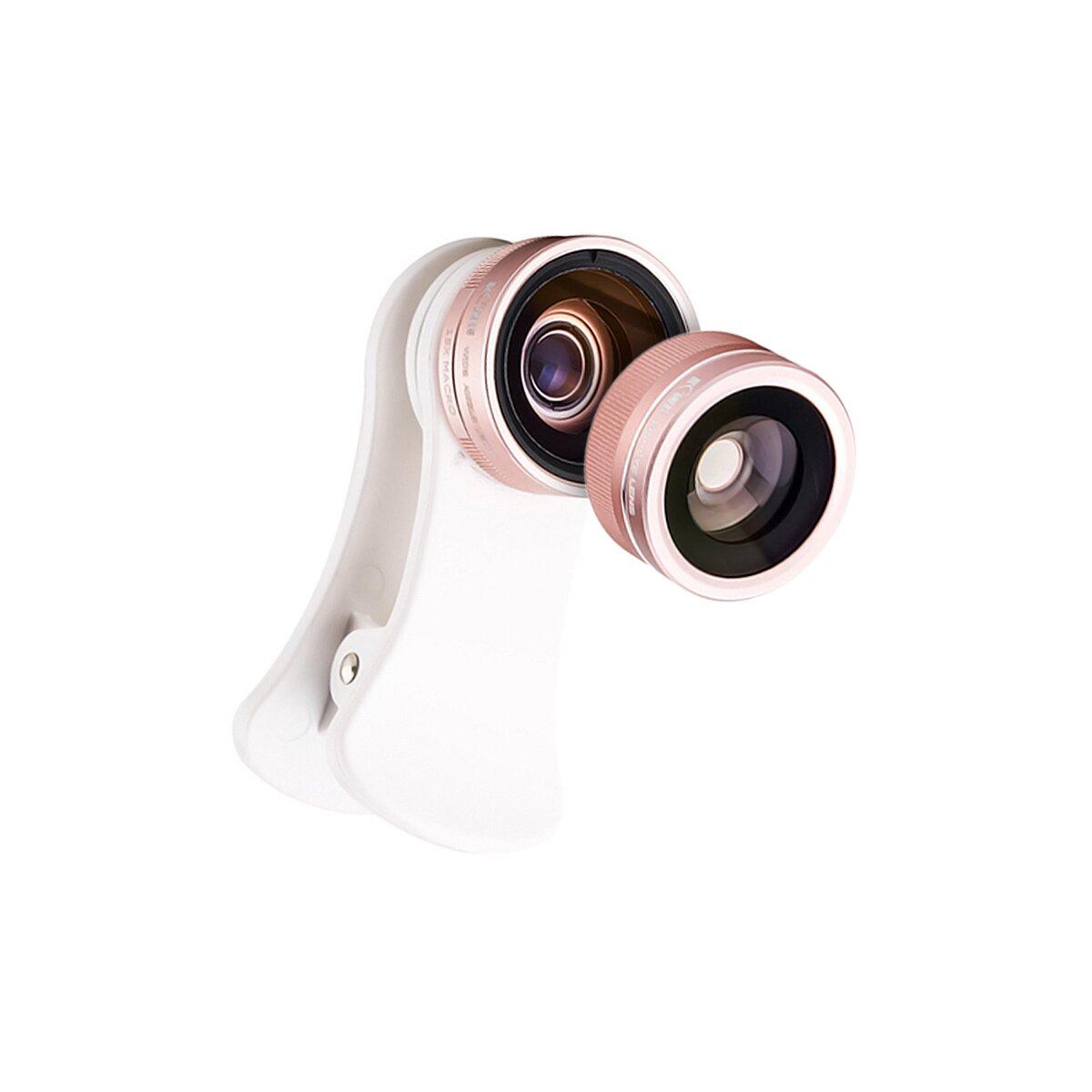 JJC Smartphone Kamera Objektiv Set, HD Linse, 105° Weitwinekl, 15X Makro Objektiv, 180° Fisheyelinse