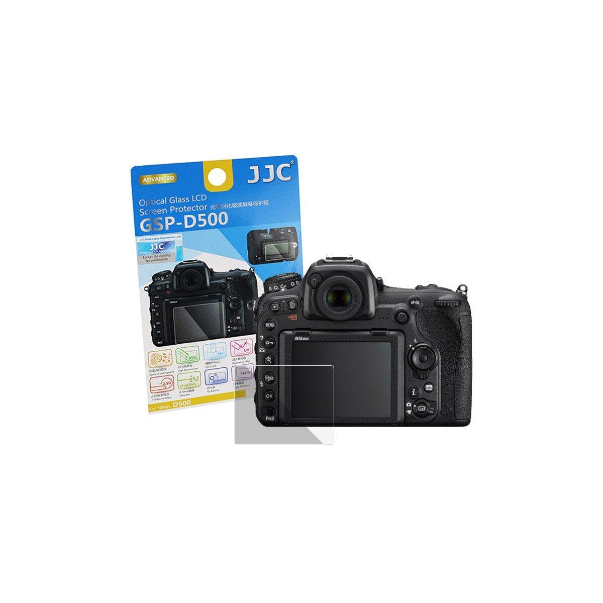 JJC Hochwertiger Displayschutz Screen Protector aus gehaertetem Echtglas, passend für Nikon D500