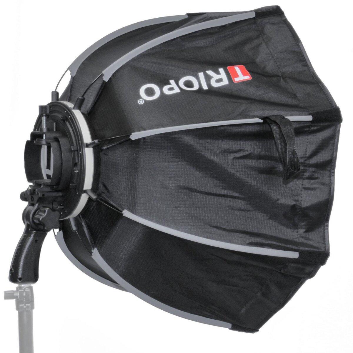 Impulsfoto Triopo MX-SK120 Softbox 120cm für Blitzgeräte + Transporttasche, Weiche Ausleuchtung, Schirm-Softbox mit 180° Neigung