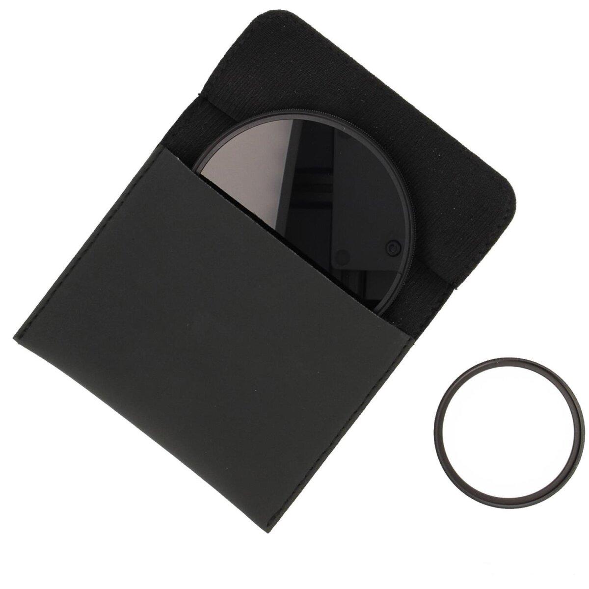 Minadax Objektivfilter Filtertasche Filteretui Größe M (115mm x 113mm) Schwarz für SLR, DSLR Kameras