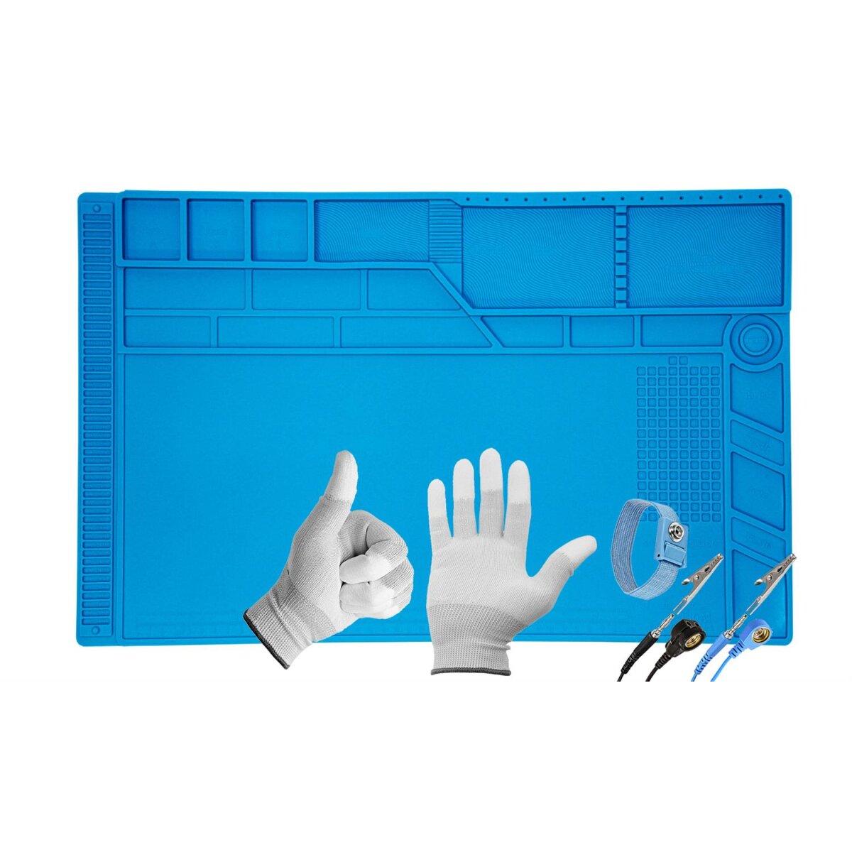 Minadax Antistatik XXL ESD Lötmatte, 55 x 35cm Große Silikonmatte + Handgelenkschlaufe + Handschuhe, 500°C Hitzebeständige Reparaturmatte, Rutschfest