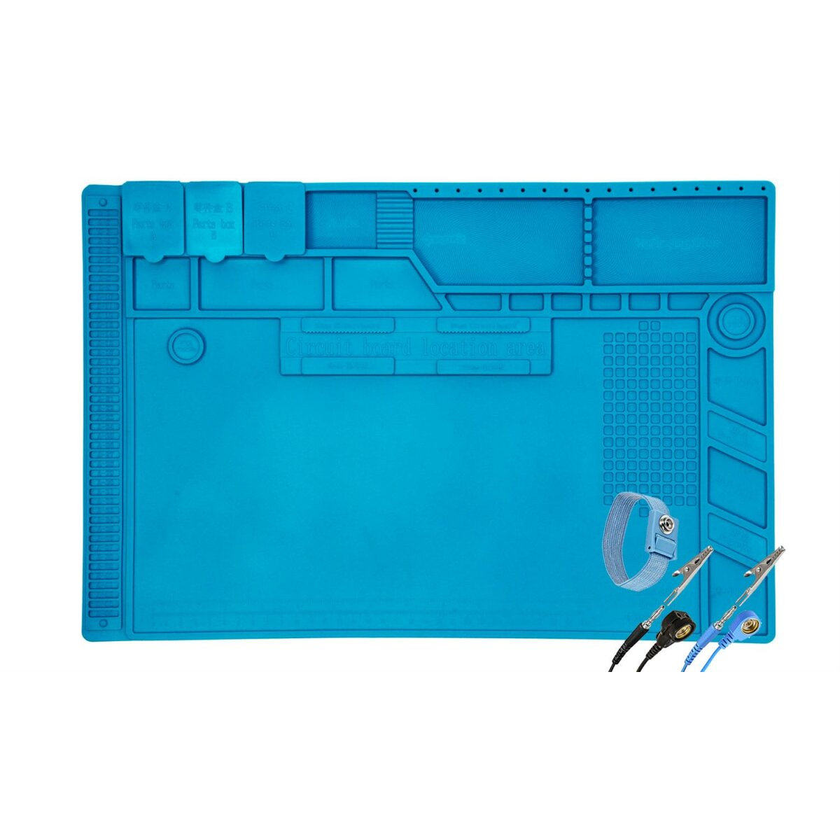 Minadax XL Lötmatte 48 x 31.8cm + Handgelenkschlaufe - Silikonmatte 500°C Hitzebeständige Reparaturmatte - Rutschfest