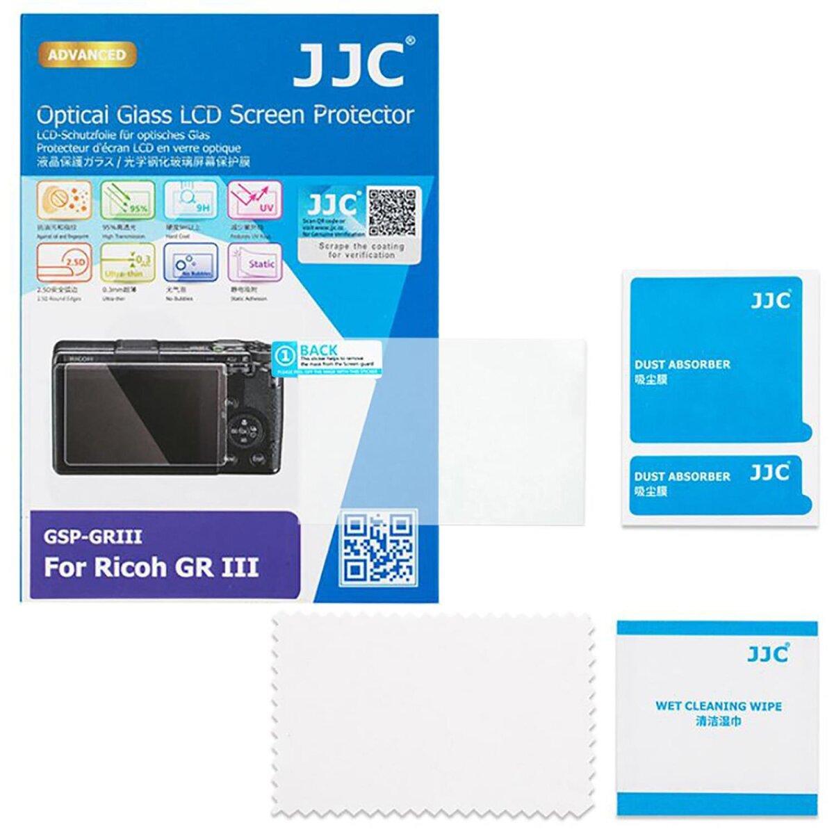 JJC Hochwertiger Displayschutz Screen Protector aus gehaertetem Echtglas, kompatibel mit Ricoh GR III