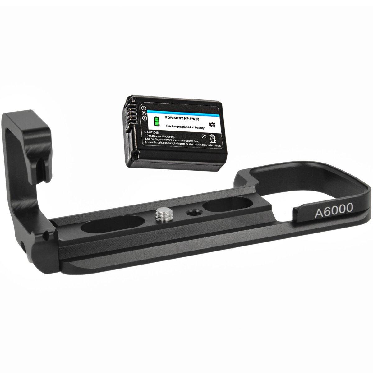 Minadax Handgriff Kameragriff für Sony A6000/A6300 inkl. 1x NP-FW50 Akku - Verbesserte Handhabung ausreichende Auflagefläche - Arca Swiss kompatibel mit Stativgewinde - Schneller Zugriff auf Batteriefach