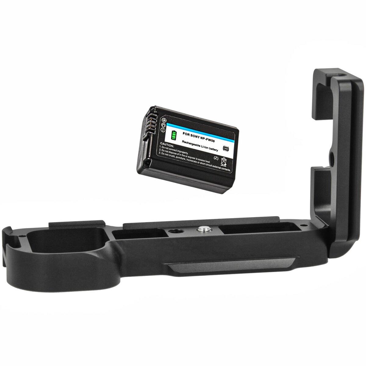 Minadax Handgriff Kameragriff kompatibel mit Sony A7/A7R inkl. 1x NP-FW50 Akku - Verbesserte Handhabung ausreichende Auflagefläche - Mit Stativgewinde - Schneller Zugriff auf Batteriefach