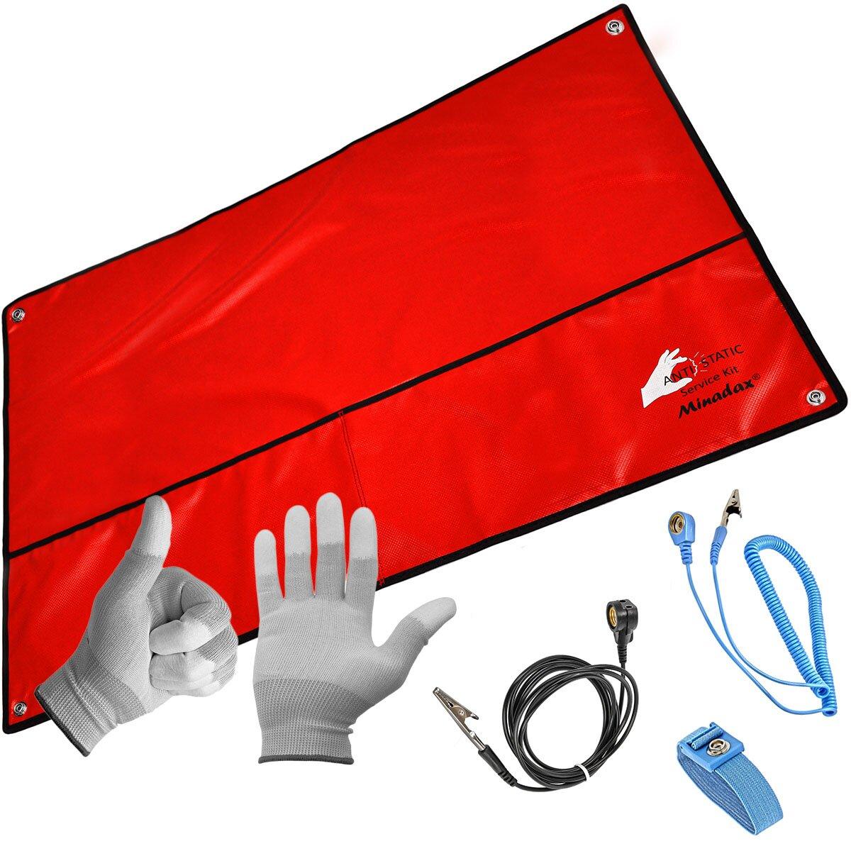 Minadax® XXL 60 x 80cm Antistatikmatte in Rot, 4 Anschlüsse, ESD Armband und Erdungskabel + ESD Handschuhe - z.B. für Arbeiten am PC-Tower