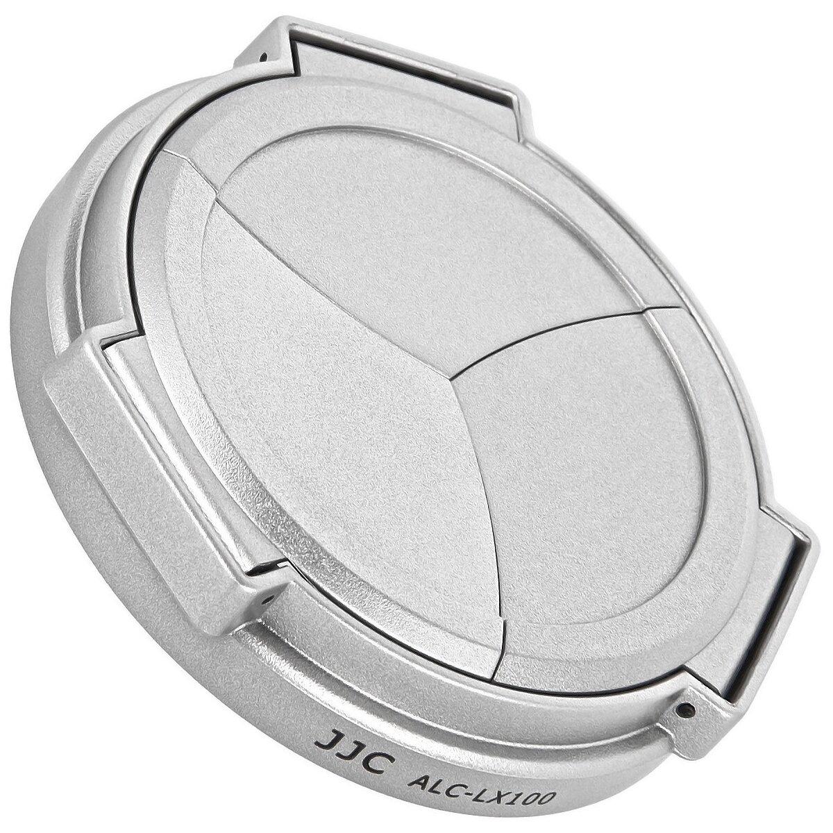 JJC Automatik Objektivdeckel, Frontdeckel kompatibel mit Panasonic LUMIX DMC-LX100 - ALC-LX100 silber