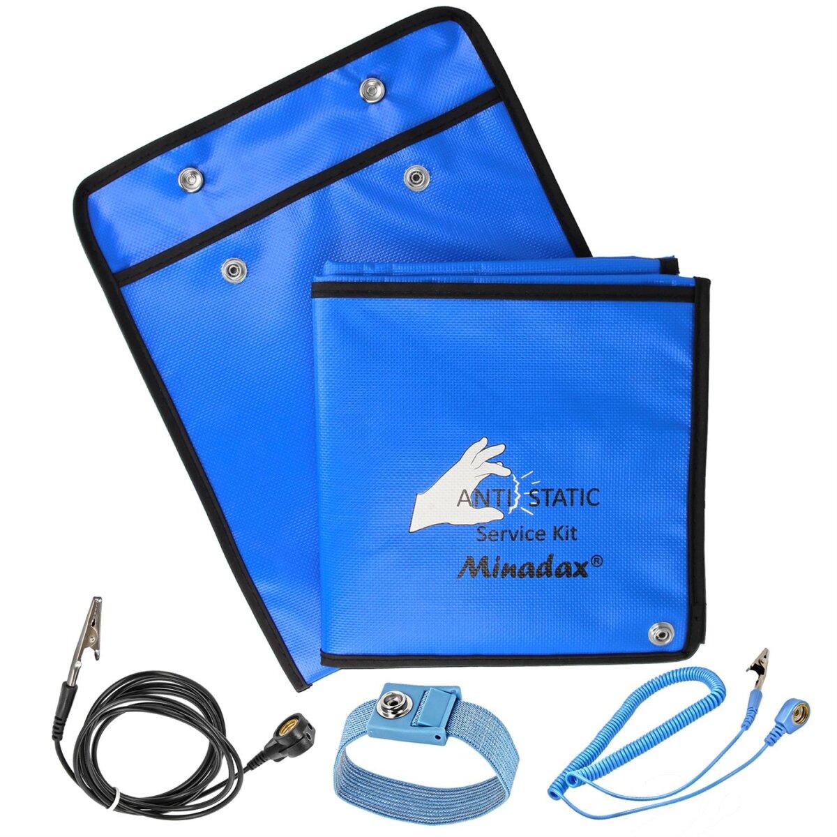 Minadax 60 x 80cm Antistatik-Portabel Set + Tasche ESD Antistatikmatte in Blau, Handgelenksschlaufe und Erdungskabel - Für ein sicheres Arbeiten und Schutz Ihrer Bauteile vor Entladungsschäden