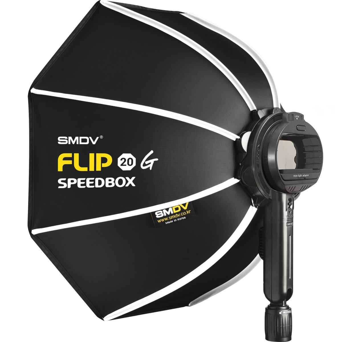 Impulsfoto SMDV Innovative Softbox Speedbox-Flip20 - 50cm | 440 x 130 mm | Erste Klappbare Softbox der Welt | Winkel Verstellbar | Anpassbarer Speedlite-Adapter