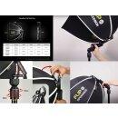 Impulsfoto SMDV Innovative Softbox Speedbox-Flip20 - 50 cm | 440 x 130 mm | Erste Klappbare Softbox der Welt | Winkel Verstellbar | Mit Adapter für Godox V1