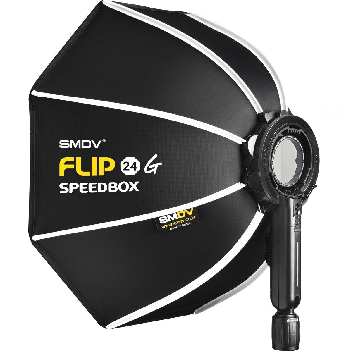 Impulsfoto SMDV Innovative Softbox Speedbox-Flip24 - 60 cm | Erste Klappbare Softbox der Welt | 525 x 130 mm | Winkel Verstellbar | Mit Adapter für Profoto A1