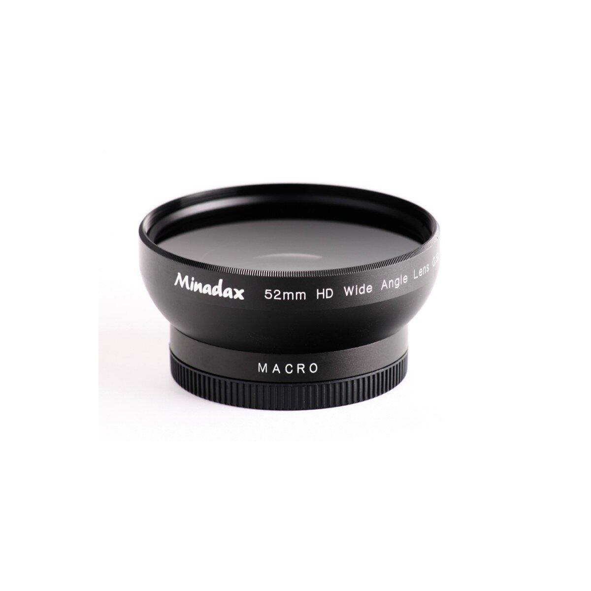 Minadax 0.5x Weitwinkel Vorsatz mit Makrolinse kompatibel mit Sony DSC-F505, DSC-F505V - in schwarz