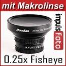 0.25x Minadax Fisheye Vorsatz kompatibel für Sony HDR-CX105, HDR-CX106, HDR-CX115, HDR-CX116, HDR-CX155, HDR-CX305, HDR-CX350 sw