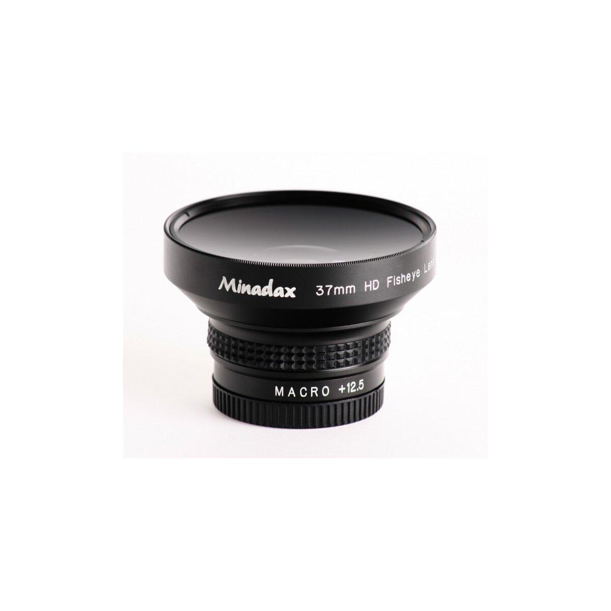 Minadax 0.25x Fisheye Vorsatz kompatibel mit Sony DCR-DVD404, DCR-DVD405, DCR-DVD410, DCR-DVD450, DCR-DVD505, DCR-DVD510, HDR-XR160, HDR-PJ30, HDR-CX360VE - in schwarz