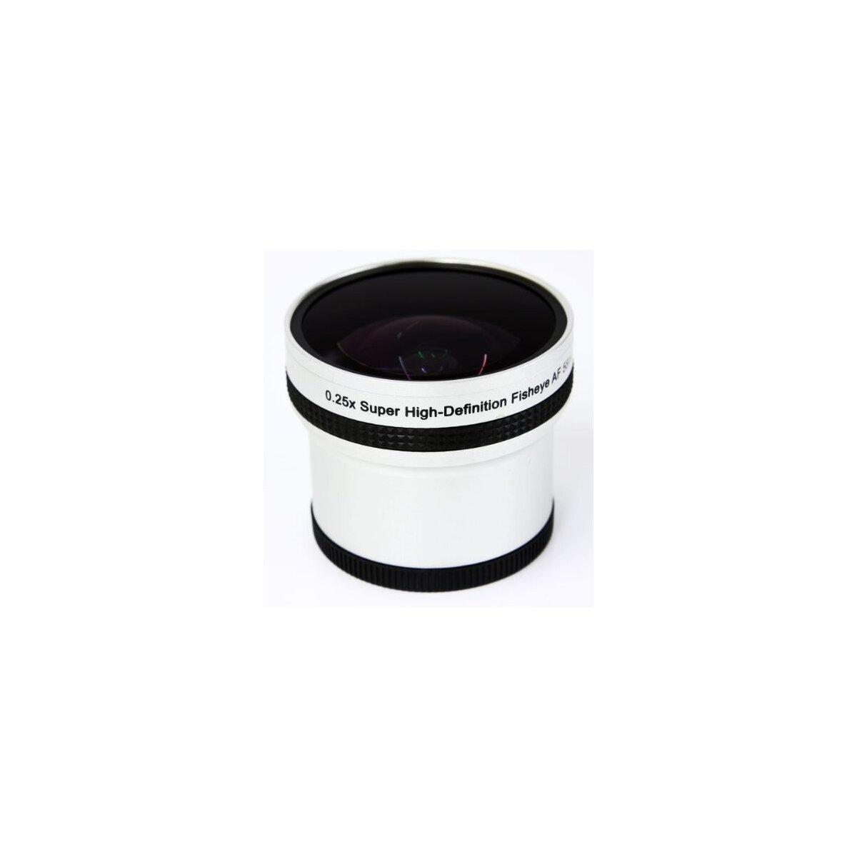 0.25x Fisheye Objektiv fuer Canon HG10, HV20, HV30, HV40, Legria HF M41, Legria HF M46, Legria HF M406 inkl. Adapter auf 43mm in silber