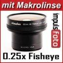 Minadax 0.25x Fisheye Vorsatz kompatibel mit Canon HG10, HV20, HV30, HV40, Legria HF M41, Legria HF M46, Legria HF M406 - in schwarz