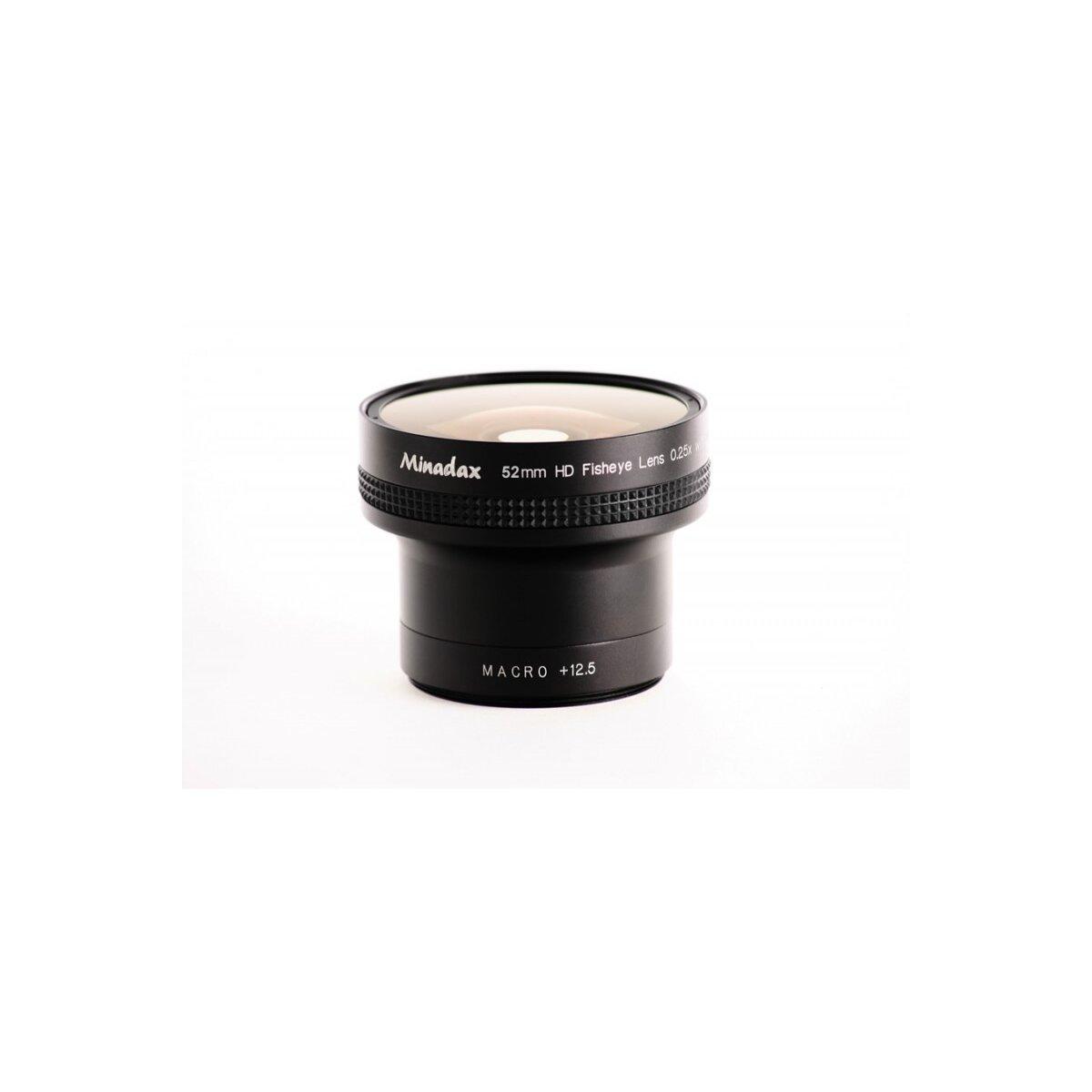 Minadax 0.25x Fisheye Vorsatz kompatibel mit Canon Powershot A30, A40 - in schwarz