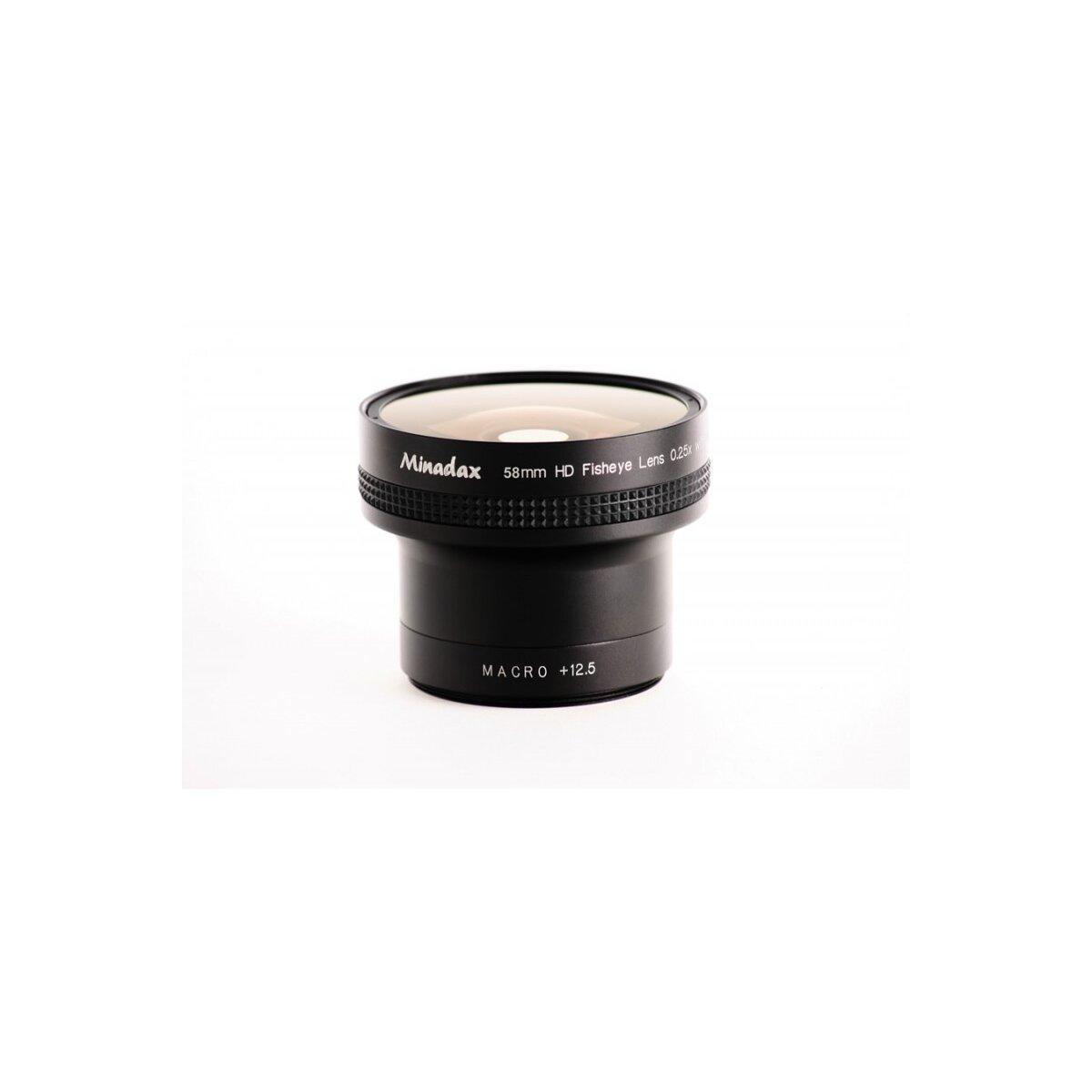 Minadax 0.25x Fisheye Vorsatz kompatibel mit Nikon Coolpix 8800 - in schwarz