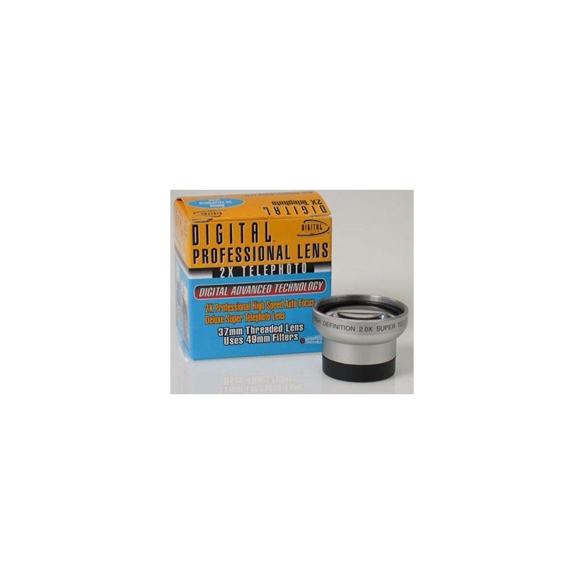 2.0x Telekonverter von Digital Optics fuer Canon DC10, DC20, MVX450, Panasonic NV-DS65, JVC GR-DA20, GR-D725, GR-D740 usw