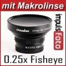 Minadax 0.5x Weitwinkel Vorsatz mit Makrolinse kompatibel mit Canon Powershot Pro1 - in schwarz