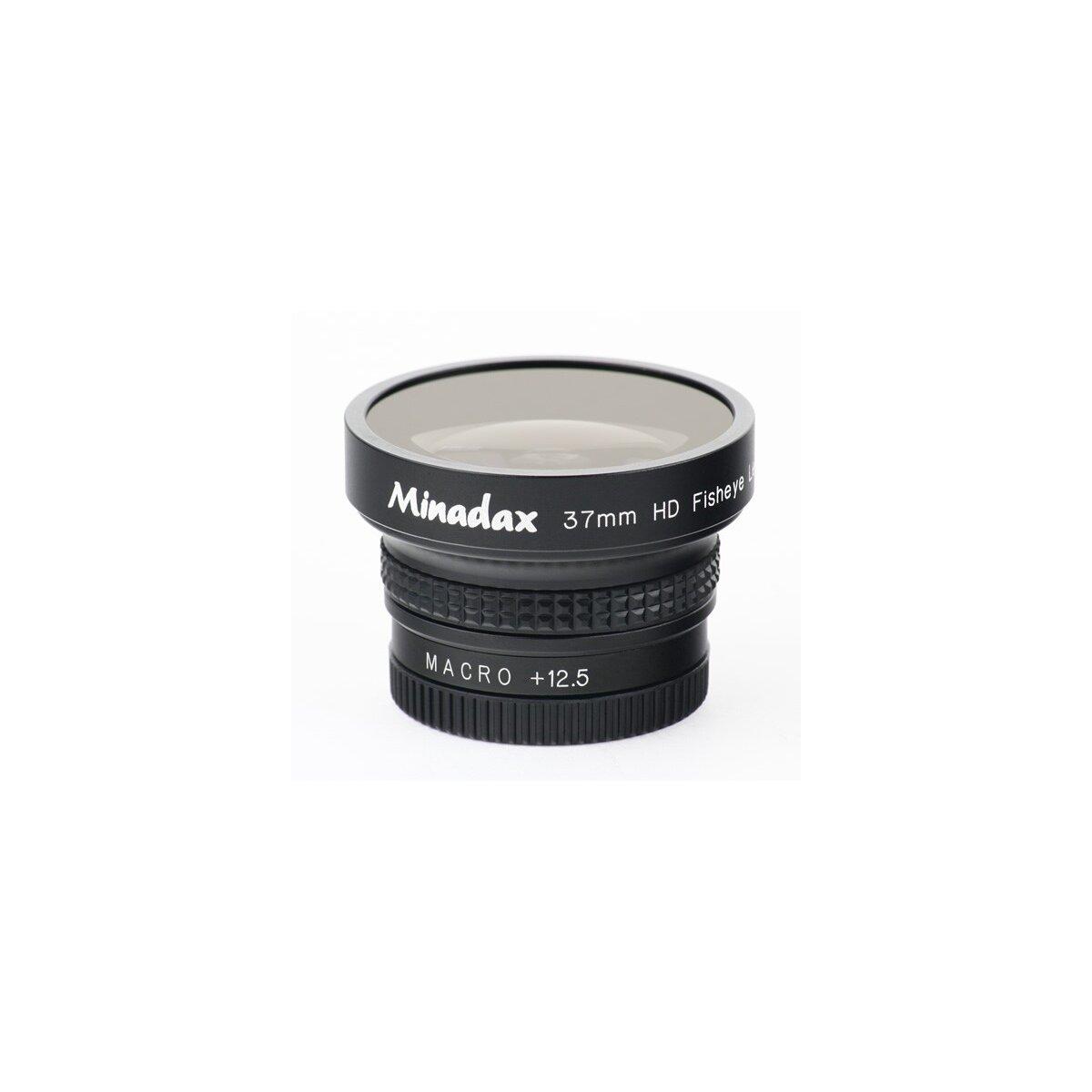 Minadax 0.42x Fisheye Vorsatz kompatibel mit Canon DC10, DC20, MVX450, MVX460