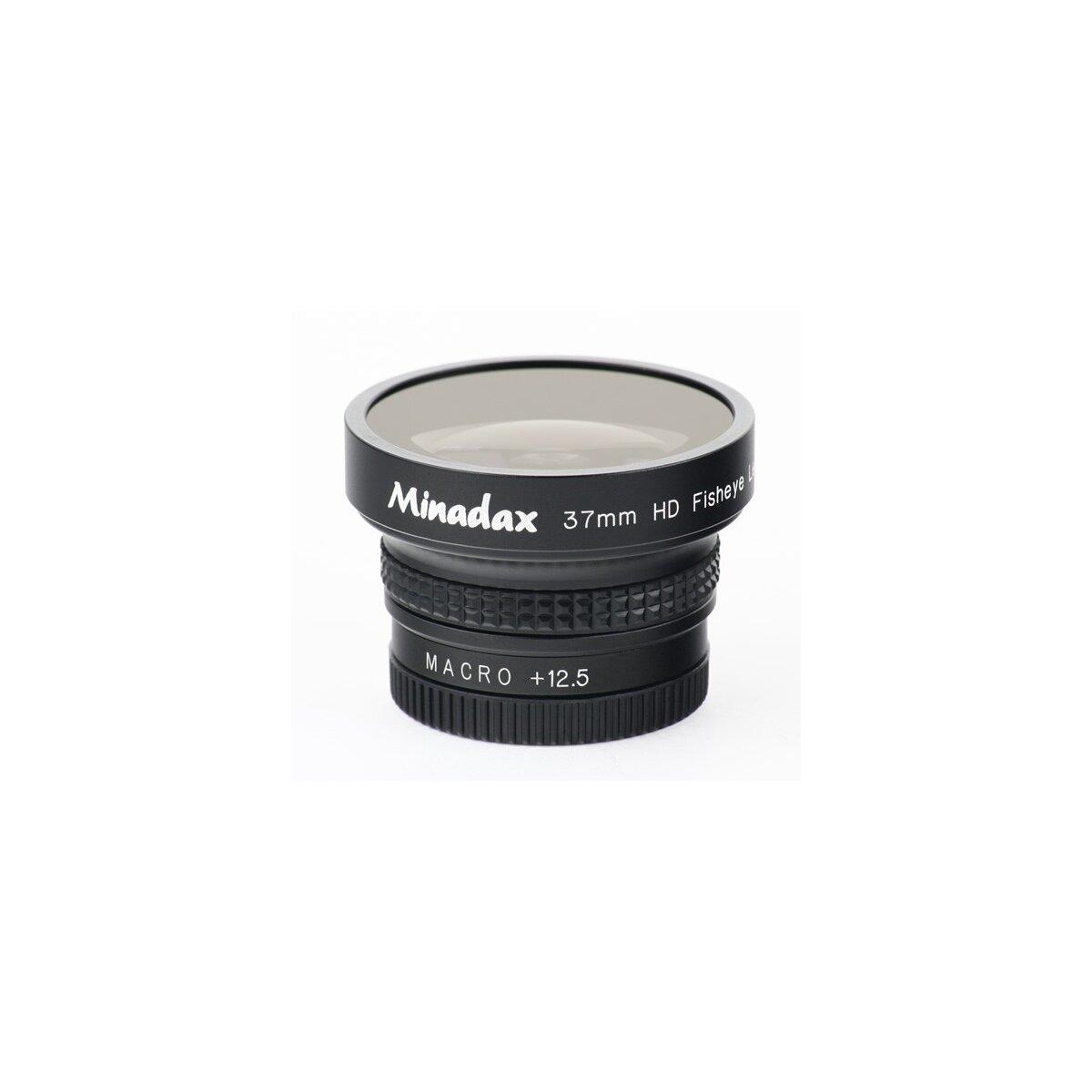 Minadax 0.42x Fisheye Vorsatz kompatibel mit Canon LEGRIA HF R26, LEGRIA HF R28, LEGRIA HF R206, MVX4i, MVX20i, MVX25i, MVX40, MVX45i, MVX200, MVX200i, MVX250i, MVX300, MVX330i, MVX350i
