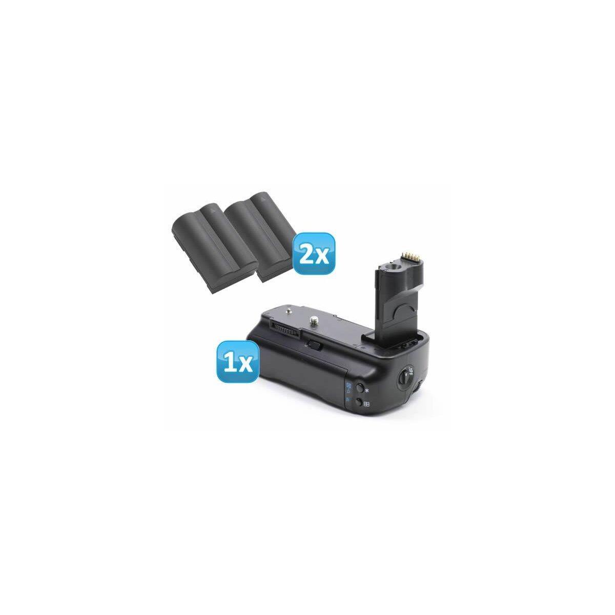 Minadax Profi Batteriegriff kompatibel mit Canon EOS 50D, 40D, 30D als BG-E2N, BG-E2 Ersatz + 2 BP-511A Nachbau-Akkus