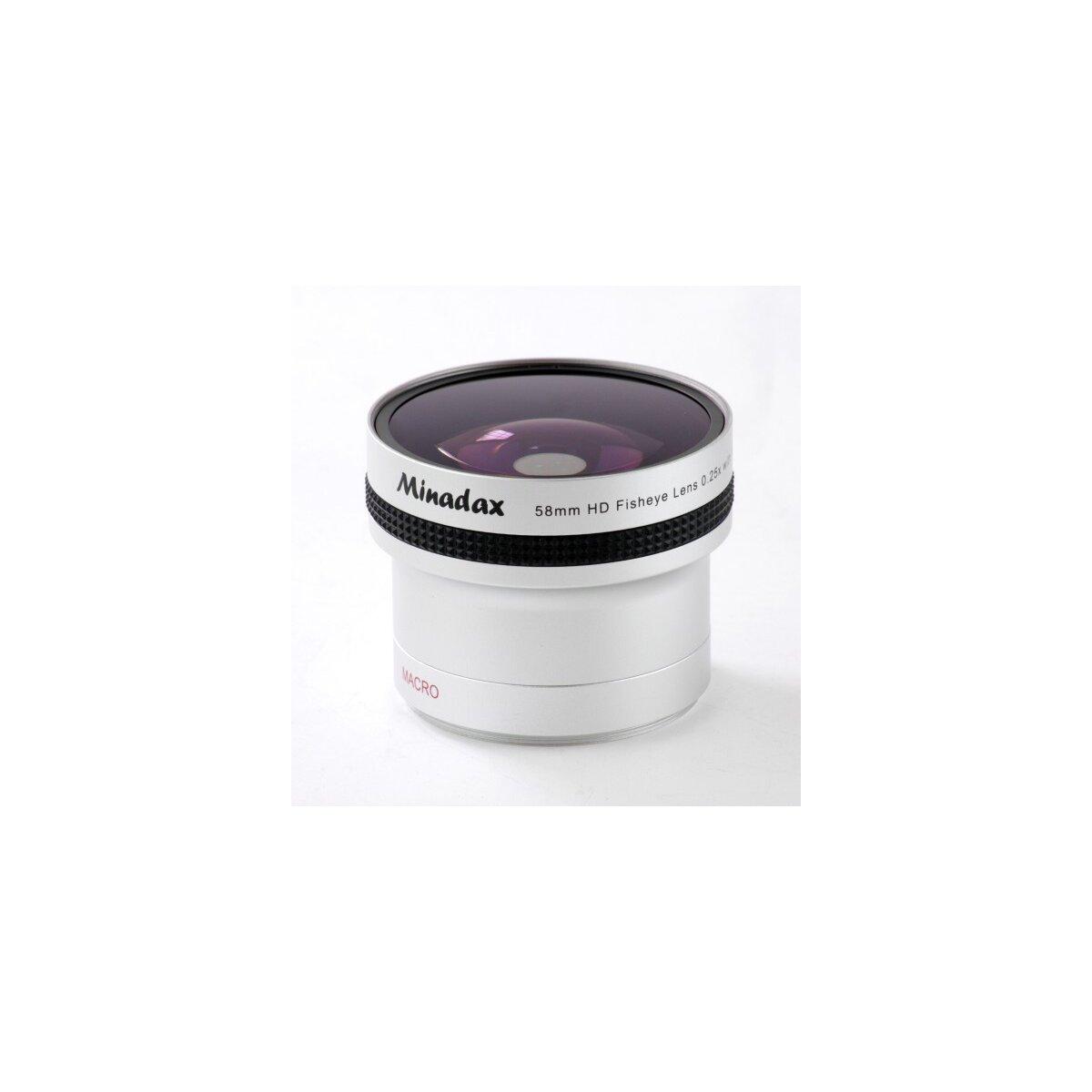 Minadax 0.25x Fisheye Vorsatz kompatibel mit Canon LEGRIA HF G10, LEGRIA HF S10, LEGRIA HF S11, LEGRIA HF S20, LEGRIA HF S21, LEGRIA HF S100, LEGRIA HF S200 - in silber