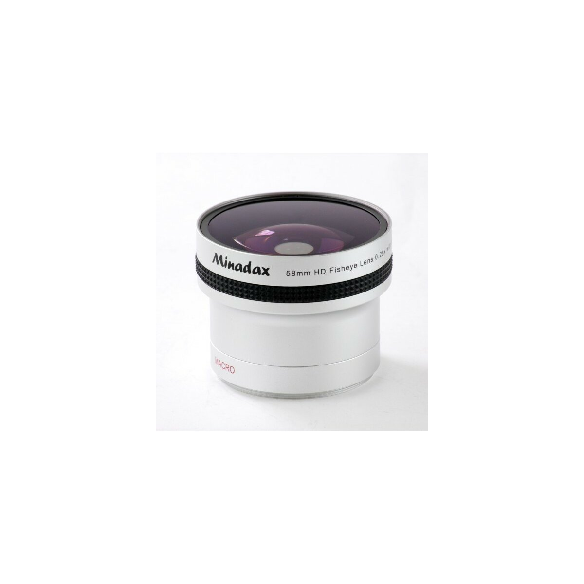 0.25x Minadax Fisheye Vorsatz kompatibel mit Sony DSC-H1, DSC-H2, DSC-H3, DSC-H5, DSC-H10, DSC-F707, DSC-F717, DSC-F828 -in silber