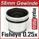 0.25x Minadax Fisheye Vorsatz kompatibel mit Olympus E-400, E-410, E-420, E-450, E-500 - in silber