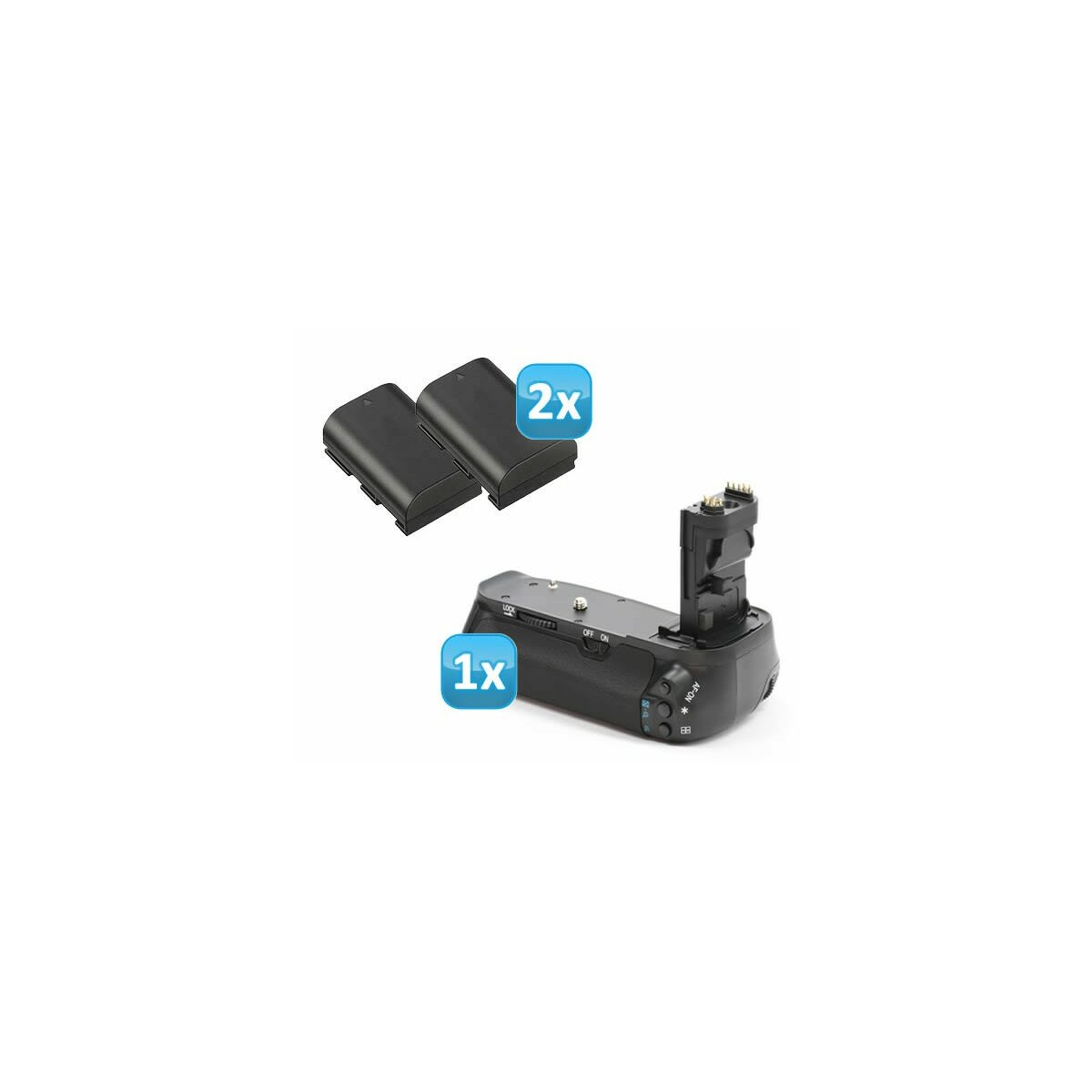 Profi Batteriegriff + 2x Akkus fuer Canon EOS 60D wie der BG-E9, inkl. 2x Li-Ion Akku wie LP-E6