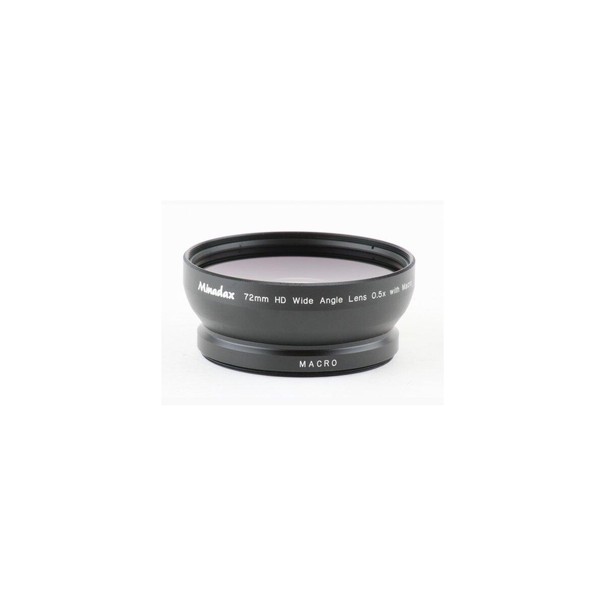 0.5x Minadax Weitwinkel Vorsatz mit Makrolinse kompatibel mit Sony HDR-AX2000, HDR-FX1, HDR-FX1000, HXR-NX5, HVR-Z1, HVR-Z5, HVR-Z7, HVR-S270