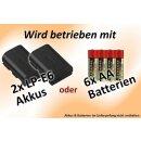 Minadax Profi Batteriegriff fuer Canon EOS 60D wie der BG-E9 - hochwertiger Handgriff mit Hochformatausloeser + 4x LP-E6 Nachbau-Akkus