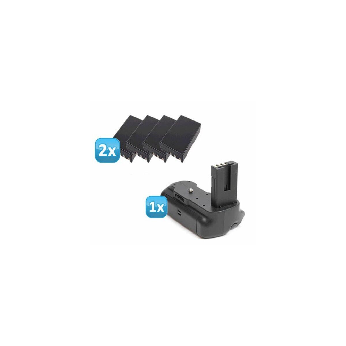 Minadax Profi Batteriegriff fuer Nikon D5000 - hochwertiger Handgriff mit Hochformatausloeser und besserem Halt + 4x EN-EL9 Nachbau-Akkus