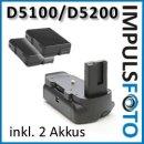 Minadax Profi Batteriegriff kompatibel mit Nikon EN-EL14 EN-EL14A - D5300, D5200, D5100 inklusiv 2x EN-EL14A Nachbau-Akkus, hochwertiger Handgriff mit Hochformatauslöser