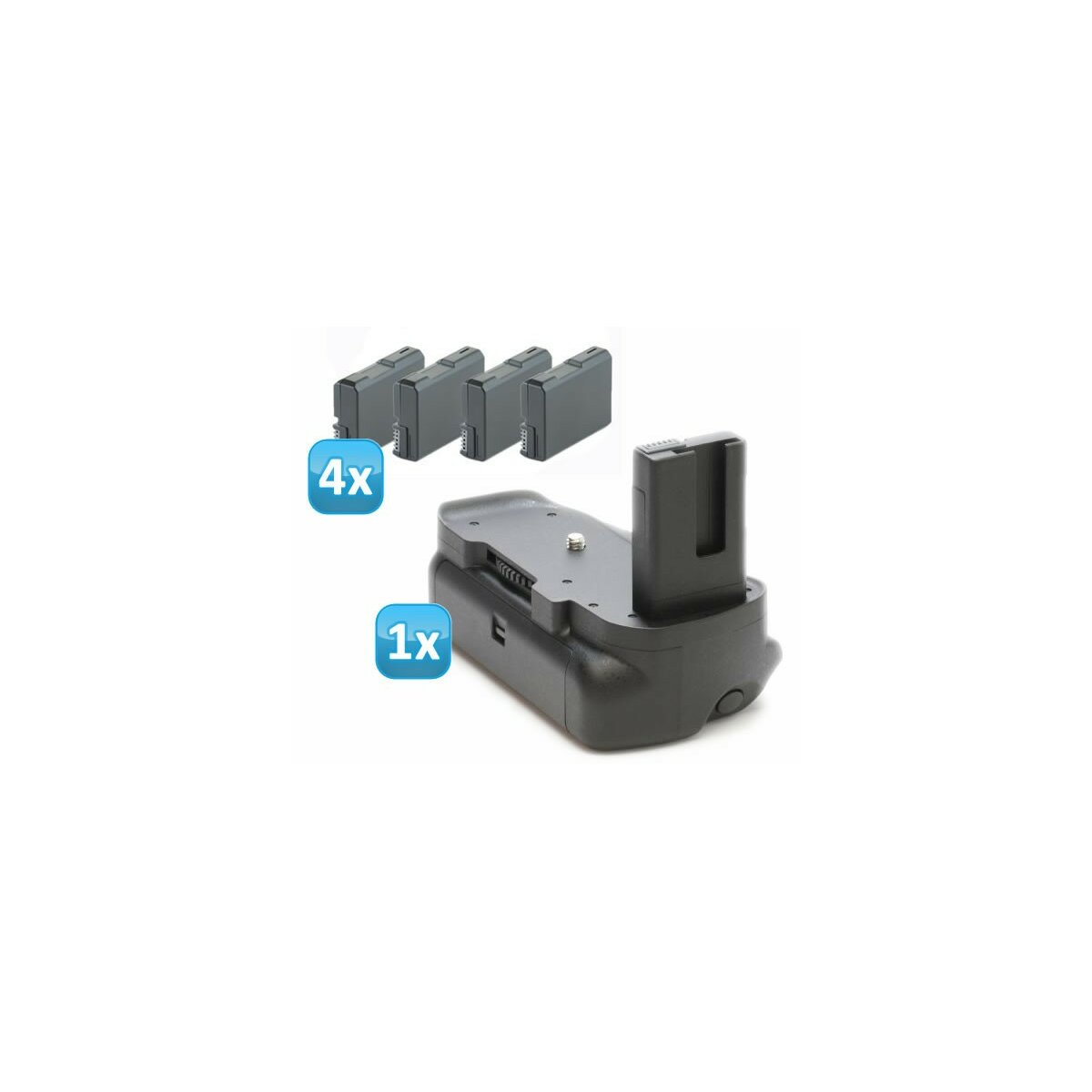 Minadax Profi Batteriegriff kompatibel mit Nikon D5300, D5200, D5100 inklusiv 4x EN-EL14 Nachbau-Akkus - hochwertiger Handgriff mit Hochformatauslöser