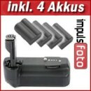 Minadax Profi Batteriegriff kompatibel mit Canon EOS 50D, 40D, 30D - Ersatz für BG-E2N, BG-E2  + 4x BP-511A Nachbau-Akkus