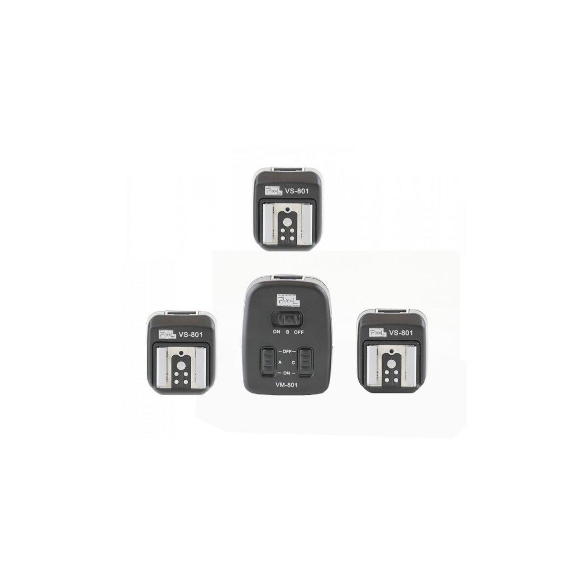 PIXEL Triple TTL-Blitzkabel (2x 2m und 4m) mit 3 Empfängern - kompatibel mit Canon Speedlite 600EX-RT, 580EX II, 580EX, 550EX, 540EZ, 430EX II, 430EX, 420EX, 380EX, 320EX, 270EX II, 270EX, 220EX - Ersatz für OC-E3